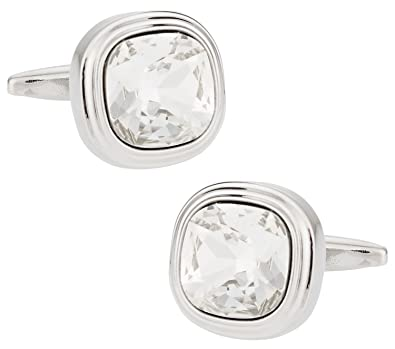 816b248995 Image Unavailable. Image not available for. Color: Cuff-Daddy Swarovski  Crystal Clear Cufflinks with Presentation Box