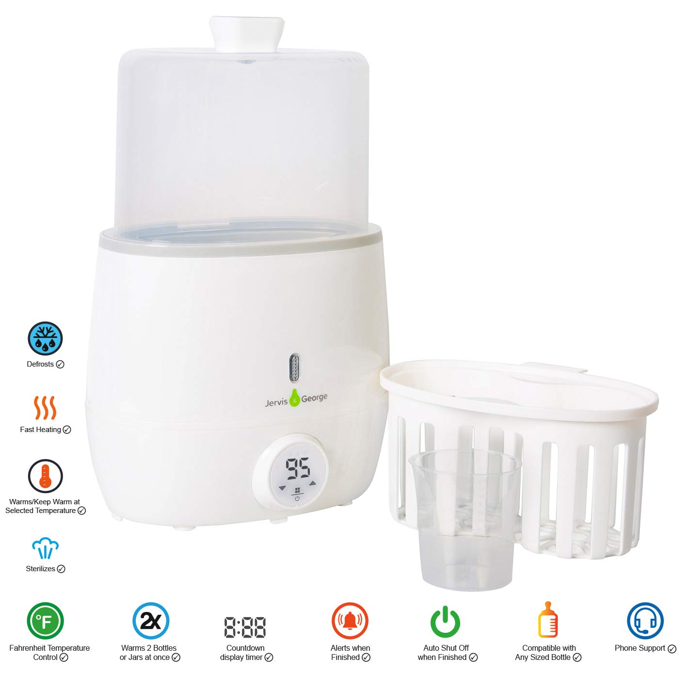 Count-Down Timer with Alerting Fahrenheit Temperature Control Fits All Bottles Sizes Jervis /& George Baby Bottle Warmer /& Sterilizer Defrost Function
