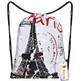 iColor Sackpack,Drawstring Backpacks,Stylish Multipurpose Girls Nylon Drawstring Bags Gym Bags,Teen Dance Bag, Lightweight Gym Bag for Women Cycling Hiking,Team Training Gymsack (Paris)