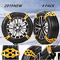 """Snow Tire Chains Cable for Mud Ice Snow Rainy Sand All Season Tire Anti-slip Chains for SUV Cars RV Truck 8PCs for Width 6.5""""-10.8""""(165mm-275mm)Features:  Material: Stainless Steel + TPU Fit Size: 6.5""""-10.8""""(165mm-275mm)Quantity: 8pcsWarm rem..."""