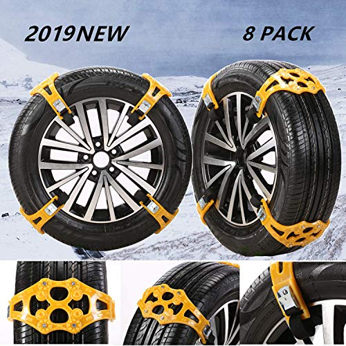 EVTIME Tire Chains Snow Chains for Cars/SUV/Truck/ATV Anti-Skip for Safety Emergency Ice Snow Mud Sand with 2019 Upgrade TPU Width 6.5