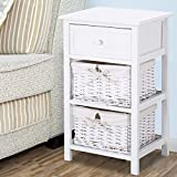 shabby nightstand end side bedside table wwicker storage wood white by azaleahome