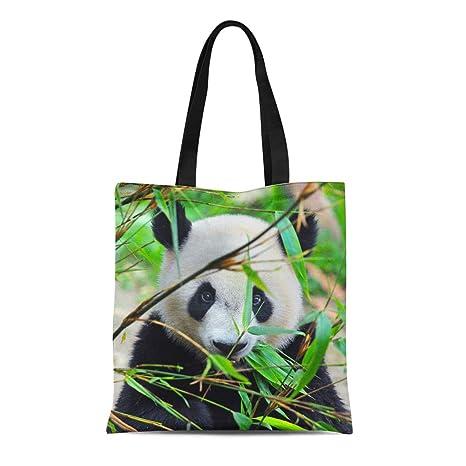 Giant Panda Bear Eating Bamboo Grocery Travel Reusable Tote Bag