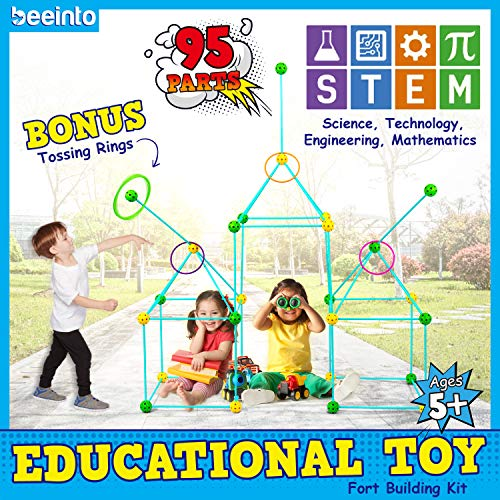 beeinto Kids Fort Construction Building Kit - 58 Poles, 32 Balls, 5 Toss Rings, Nylon Bag, Instructions - Outdoor STEM Toys for Boys, Indoor Play Tents Builder, Parent-Child Quality Time - Ages 5+