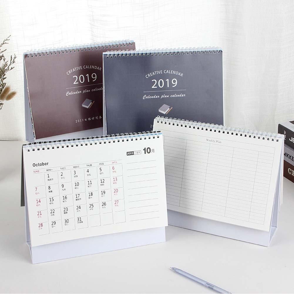 ANJUY Creative Desk Calendars,Flip Standing Desk Calendars for School,Classroom,Family,Blue,Pack of 2 by ANJUY (Image #2)