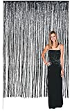 Langxun 3 ft x 8 ft Silver Foil Fringe Curtains | Photo Booth Background for Party, Prom, Birthday, Wedding, Event Decorations ( 2 Pack )