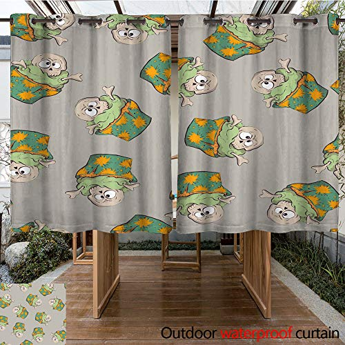 WinfreyDecor Outdoor Balcony Privacy Curtain Seamless Halloween Party Pattern Wrapping with Decorations W84 x L72