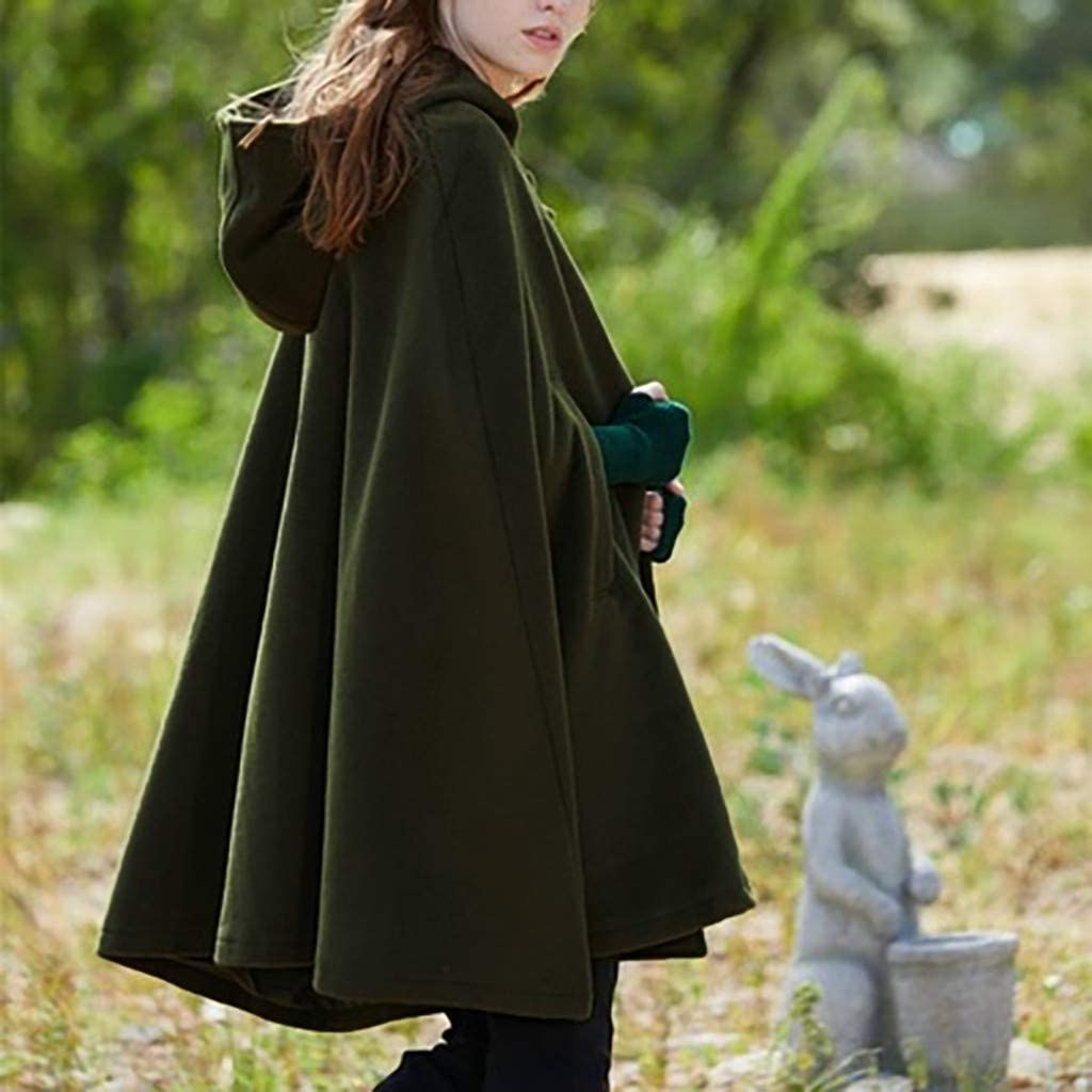 millenniums Women's Halloween Medieval Cosplay Robe Cloak Wool Blend Hooded Poncho Cape Autumn Winter Trench Coat Open Front Cardigan Jacket Coat Warm Cape Cloak Mantle Plus Green