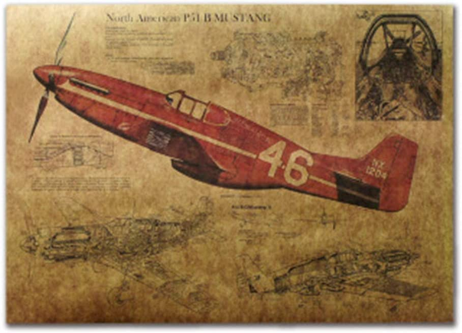 KEYkey Vintage Poster P51 Mustang Papel Kraft Aviones 1 Pack: Amazon.es: Hogar