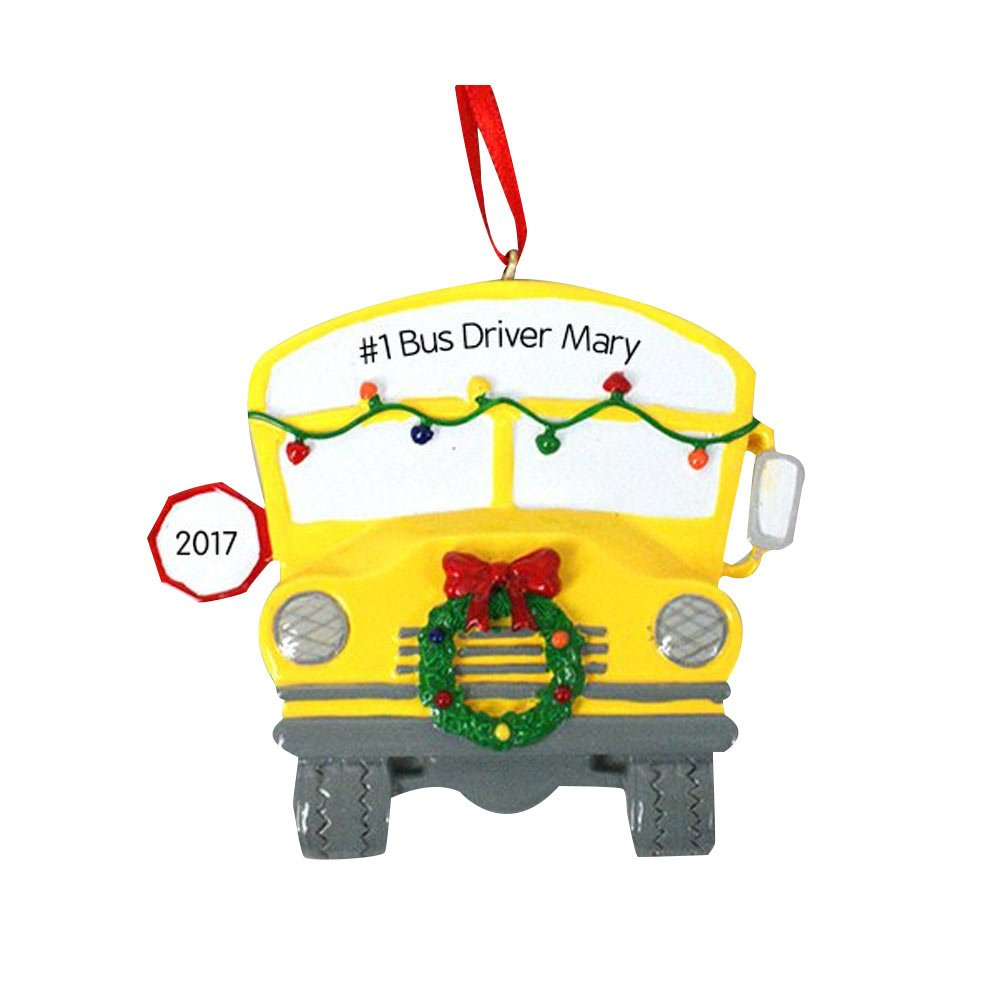 GiftsForYouNow School Bus Personalized Ornament, Resin