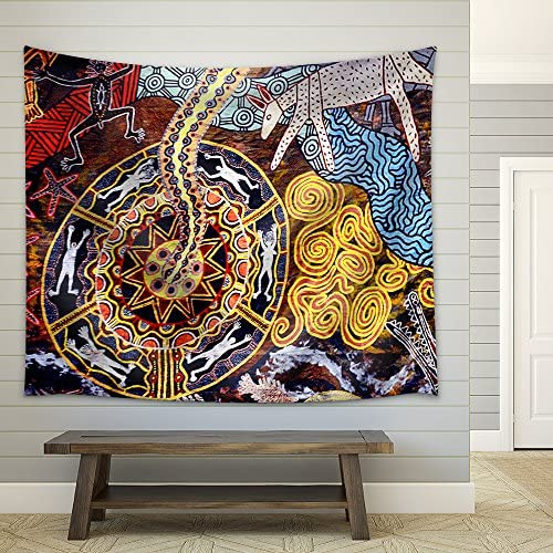 Queensland Apr 16 2016:Indigenous Australian Art Dot Painting Fabric Wall