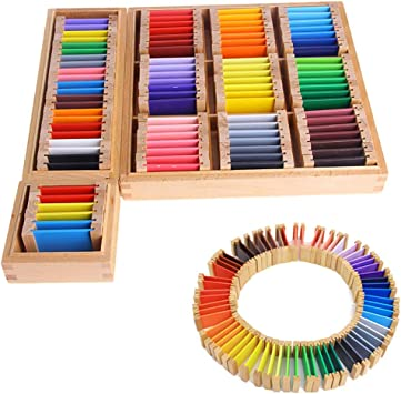 EDQZ Tarjeta De Color Sensorial Montessori Caja De Madera Caja Preescolar Niños Juguete Educativo Tarjeta De Color Juguete De Madera PequeñoNone: Amazon.es: Juguetes y juegos