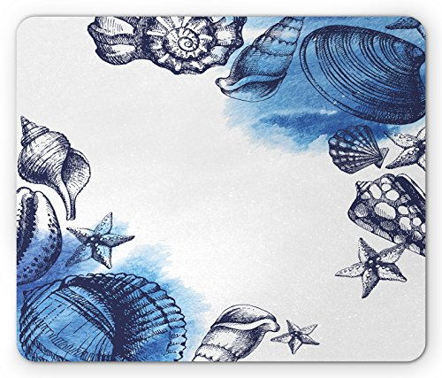 Ocean Mouse Pad by Ambesonne, Sealife Sea Shells and Sand Stones Deep Water Star Fish Blue Toned Design, Standard Size Rectangle Non-Slip Rubber Mousepad, Navy Blue and White
