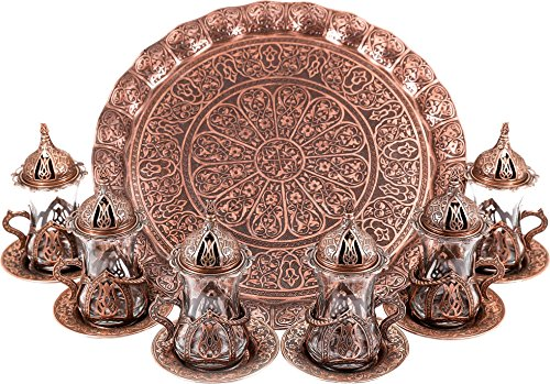 Turkish Moroccan Indian Tea Set for Six - Glasses with Brass Holders Lids Saucers Tray, Tea Cups, Tea Servers-(TS-201) (Oval Glass Indian)