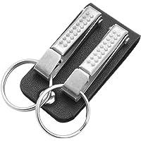Mannen lederen riem lus sleutelhanger met 2 afneembare clips sleutelhanger riem riem sleutelhanger (Color : Silver)