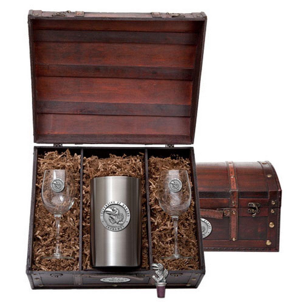 Kansas Jayhawks Wine Gift Set by Heritage Metalwork (Image #1)