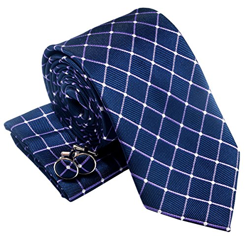 Dots and Check Pattern Woven Men's Tie Necktie w/ Pocket Square & Cufflinks Gift Set