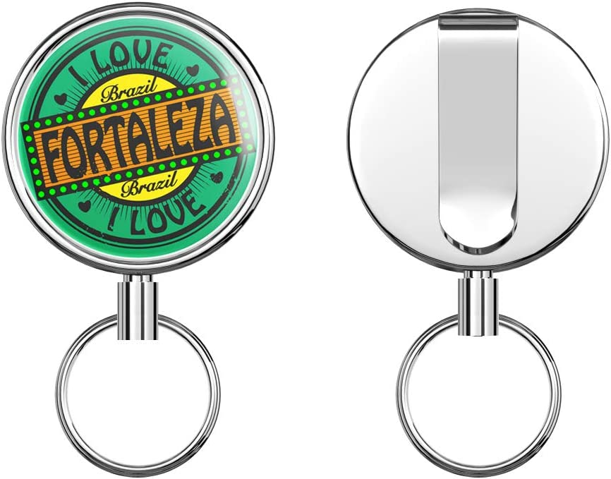 I Love Fortaleza City Brazil Travel Stamp Retractable Badge Holder Reel Metal ID Badge Holder with Belt Clip Key Ring for Name Card Keychain