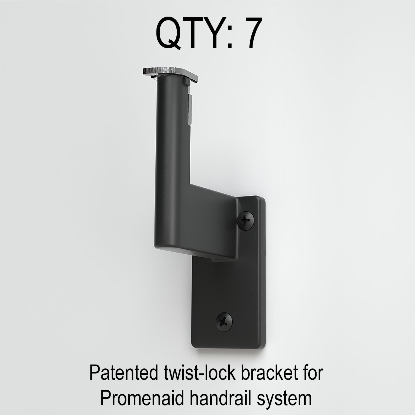 1.6 Round Handrail Kit Shipped in 2 Pieces with Splice Satin Black Anodized Aluminum with 7 Black Wall Brackets and ADA Returns Overall Length: 185 15 ft