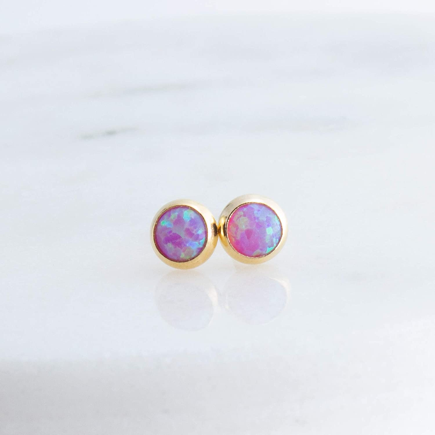 Pink Opal Stone 4mm with 14K Gold Filled Stud Earrings