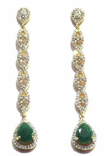 e95f8caa9 Buy Jewelshingar Jewellery American Diamond earrings danglers Studs For  Women (8876-ead-green-1250) Online at Low Prices in India   Amazon  Jewellery Store ...