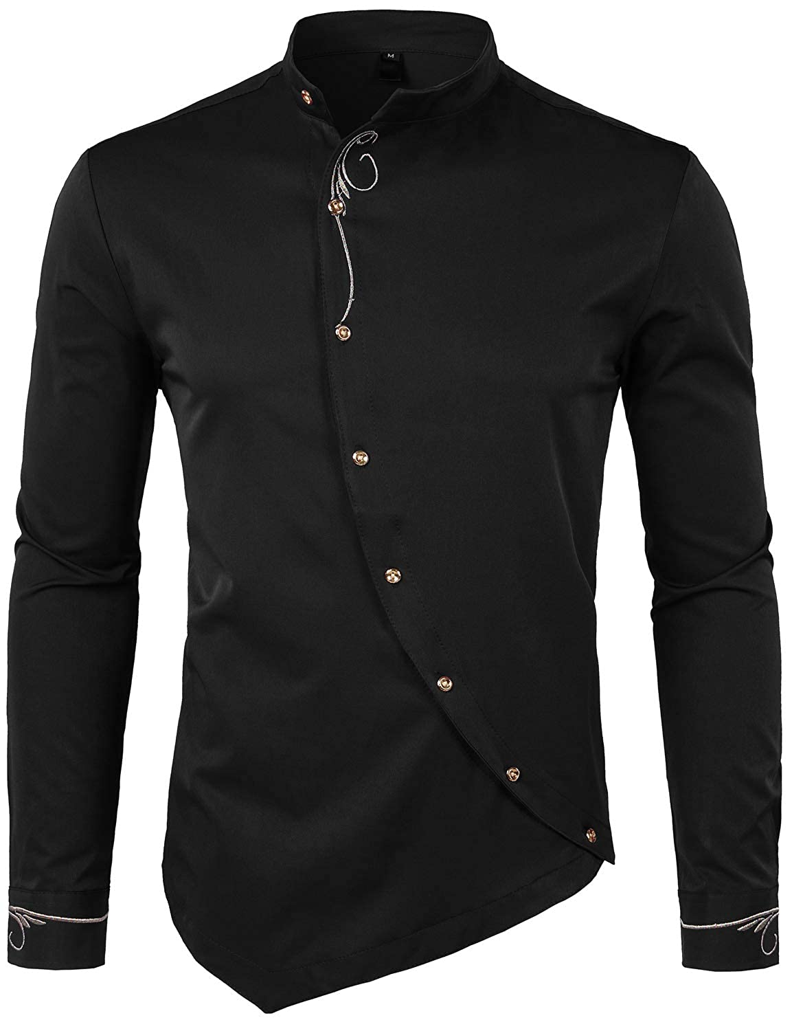 Steampunk Men's Shirts WHATLEES Mens Hipster Casual Slim Fit Long Sleeve Button Down Dress Shirts Tops with Embroidery $25.99 AT vintagedancer.com