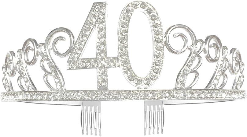 Couronne Anniversaire 40 Diad/ème Tiare avec Peigne Cheveux Cristal Strass Argent Cadeau Anniversaire 40 Ans F