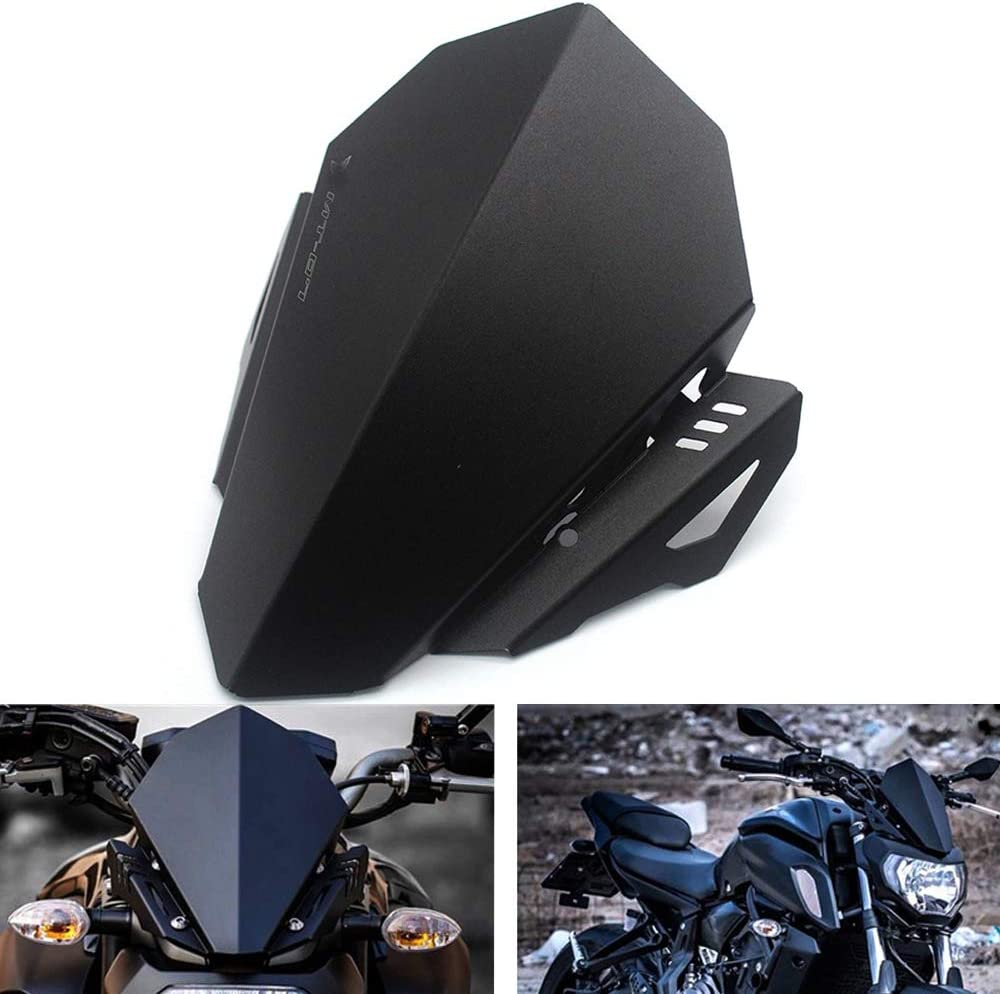 Easygo Compatible with Yamaha MT-07 2018 2019 Windshield Windscreen MT07 Deflector Aluminum