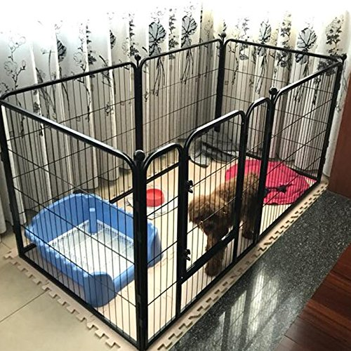 Indoor Dog Pens (Paw Essentials Heavy Duty Pet Play and Exercise Pen with 6 Panels - 29 x 31.5in each Panel, (Black))