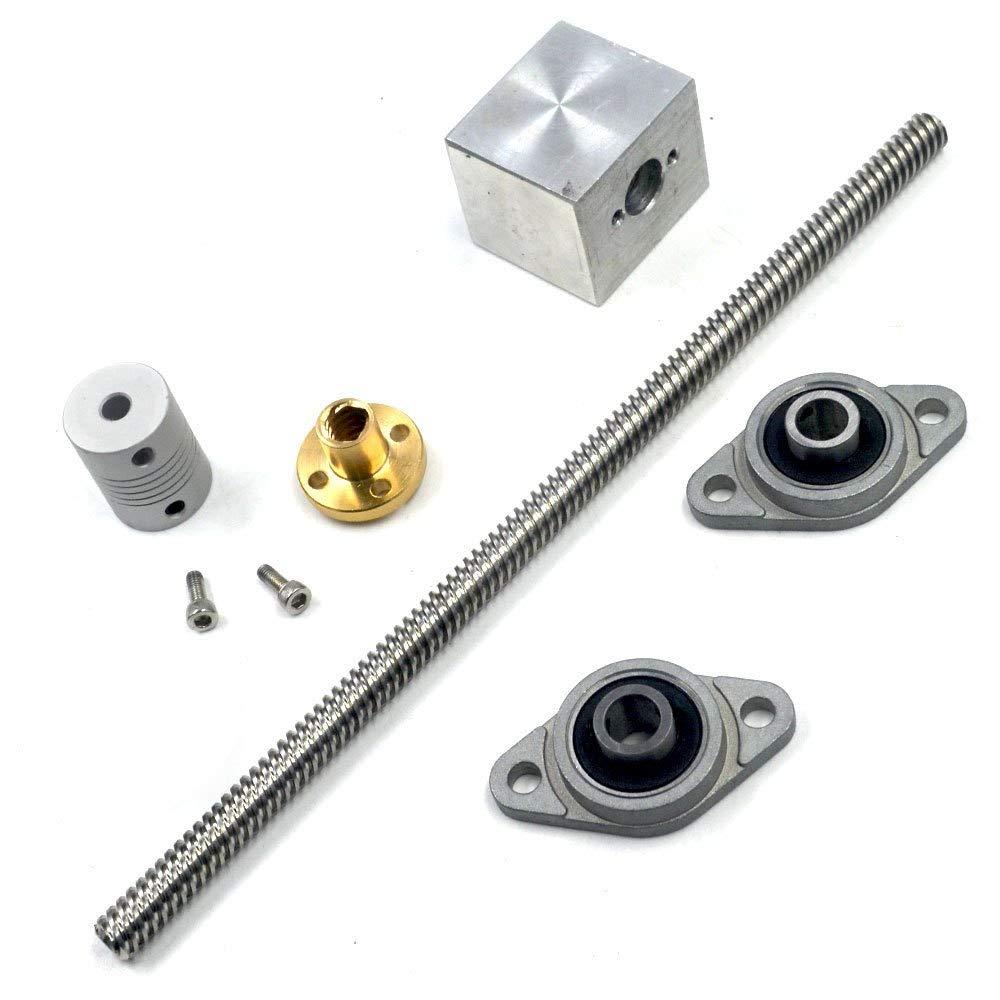 Kammas 100mm Length 8mm Dia Silver Vertical 2mm Lead Screw Rod /& Pillow Block Mounted Bearing T8 Lead Screw Kit for 3D Printer Set of 6