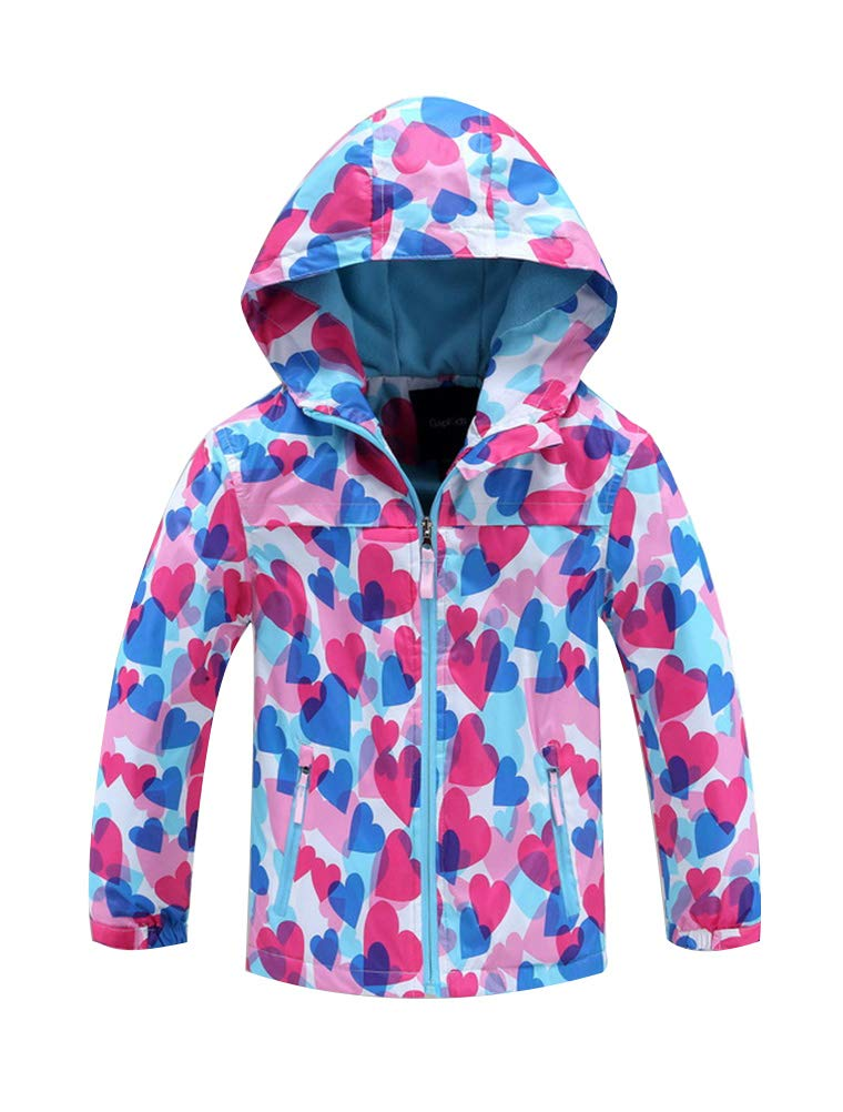 Mallimoda Girls'Hooded Jacket Fleece Liner Waterproof Outdoor Coat Outwear Style 3 Pink 3-4 Years by Mallimoda