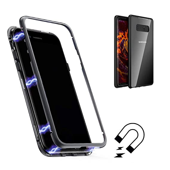 buy online 8717d 51bc4 Galaxy Note 8 Case,Shinetop Ultra Slim Thin Magnetic Adsorption Case Metal  Frame Tempered Glass Back with Built-in Magnet Flip Cover [Support Wireless  ...