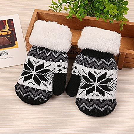 ViewHuge Cute Christmas Elk Pattern Boys Girls Children Kids Winter Soft Knitted Warm Whole Covered Finger Mittens Gloves