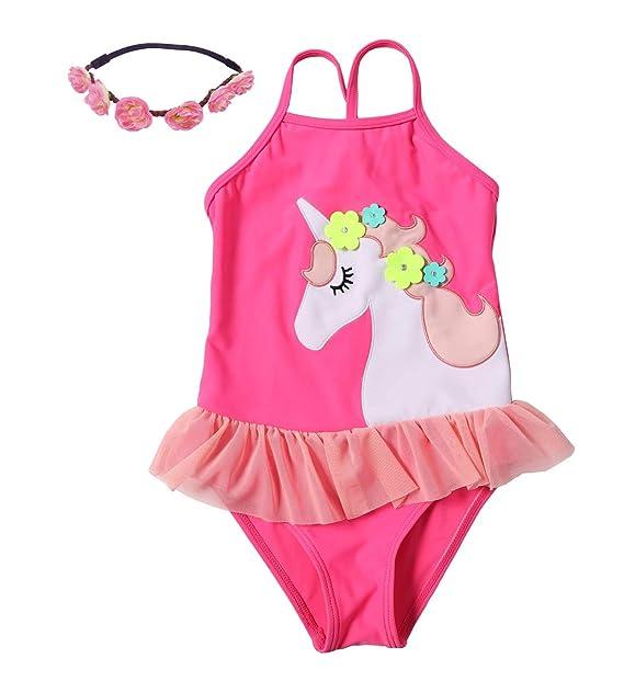 343d0dff8 Amazon.com: Little Girls 2pcs Swimsuit Unicorn Lovely Cartoon Beach Swimwear  Swimpool Bathing Suit Swim For 1.5-6 Years(Pink): Clothing