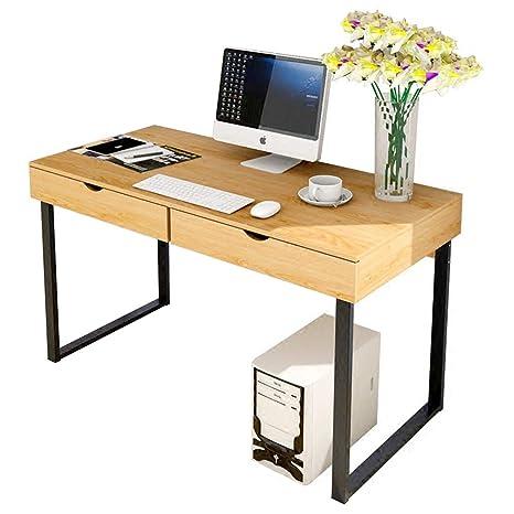 Meyhouse - Escritorio para Ordenador de Oficina, Multiusos, Mesa para Ordenador portátil, Estudio, Escritorio, con 2 cajones, Color Madera de pera: ...