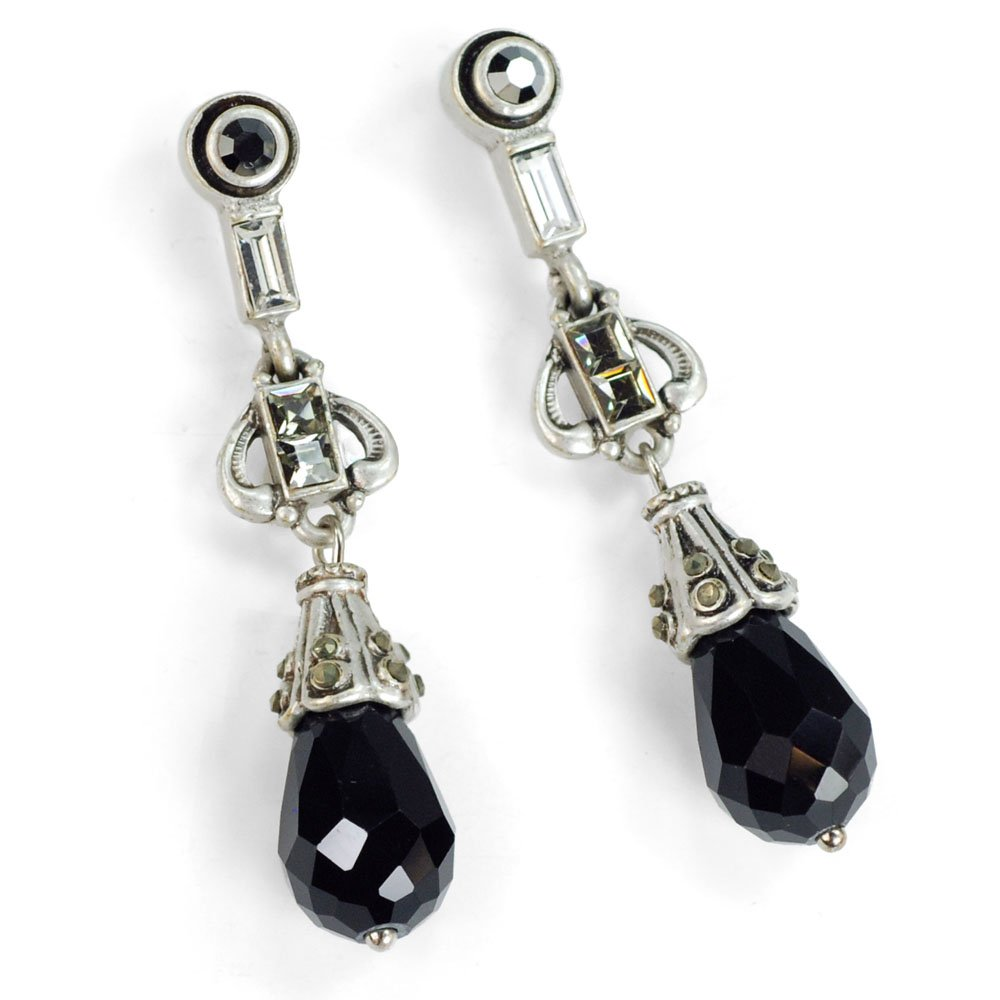 Vintage Style Jewelry, Retro Jewelry Sweet Romance Art Deco Black and Silver Drop Earrings $33.00 AT vintagedancer.com
