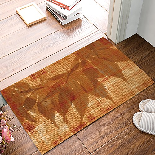 23.6 x 15.7 Inch Leaf Parchment Pattern Door Mats Indoor Kitchen Floor Bathroom Entrance Rug Carpets Home Decor Absorbent Bath Doormats Rubber Non Slip