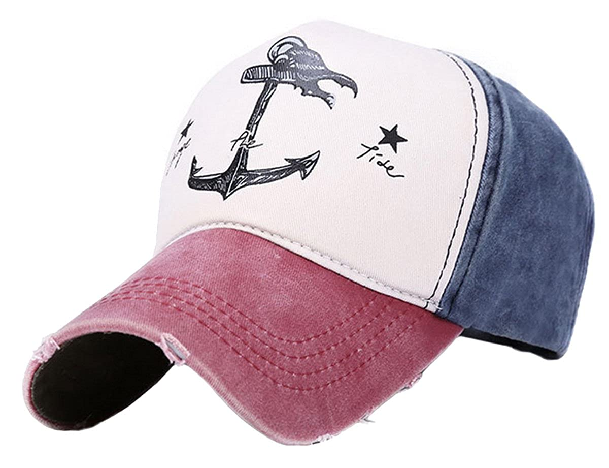 Panege Men Women Adjustable Baseball Cap Anchor Vintage Washed Cotton Sun Hat - Wine Red Paney