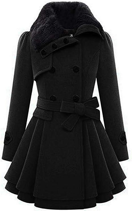 Zeagoo Women Long Sleeve Faux Fur Lapel Double-Breasted Thick Wool Coat