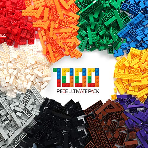 (EXERCISE N PLAY Large Pack Regular Colors 1000 Pieces Building Bricks Toy Compatible with All Major Brands)