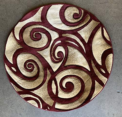 Contempo Modern Round Area Rug Burgundy Design 341 (4ftx4ft Round)