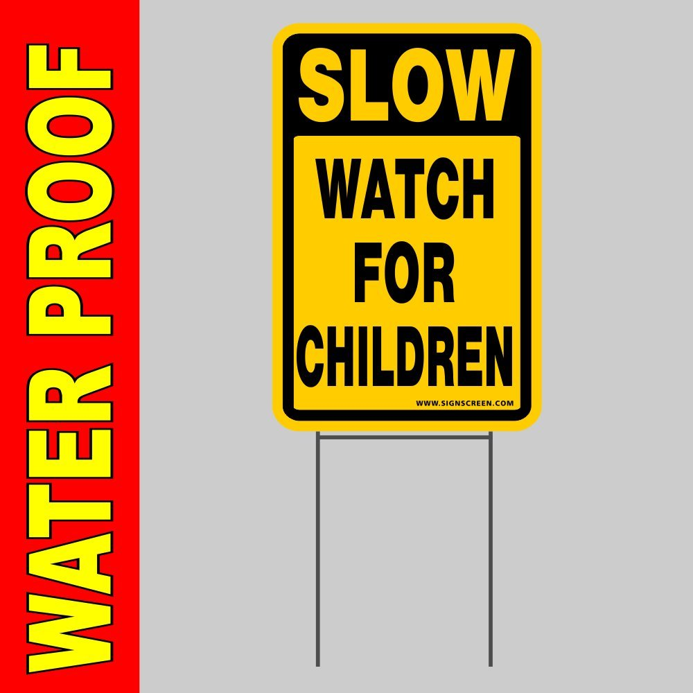 """4 SLOW CHILDREN AT PLAY  Coroplast SIGNS with stakes 8/"""" x 12/"""" Red"""