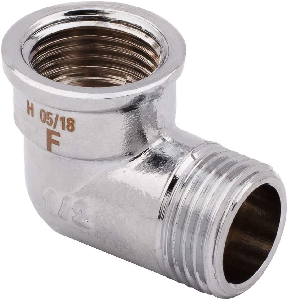 Screw Connections 1//2 inch Male x Female Chrome Elbow Piece Threaded Pipe Connection