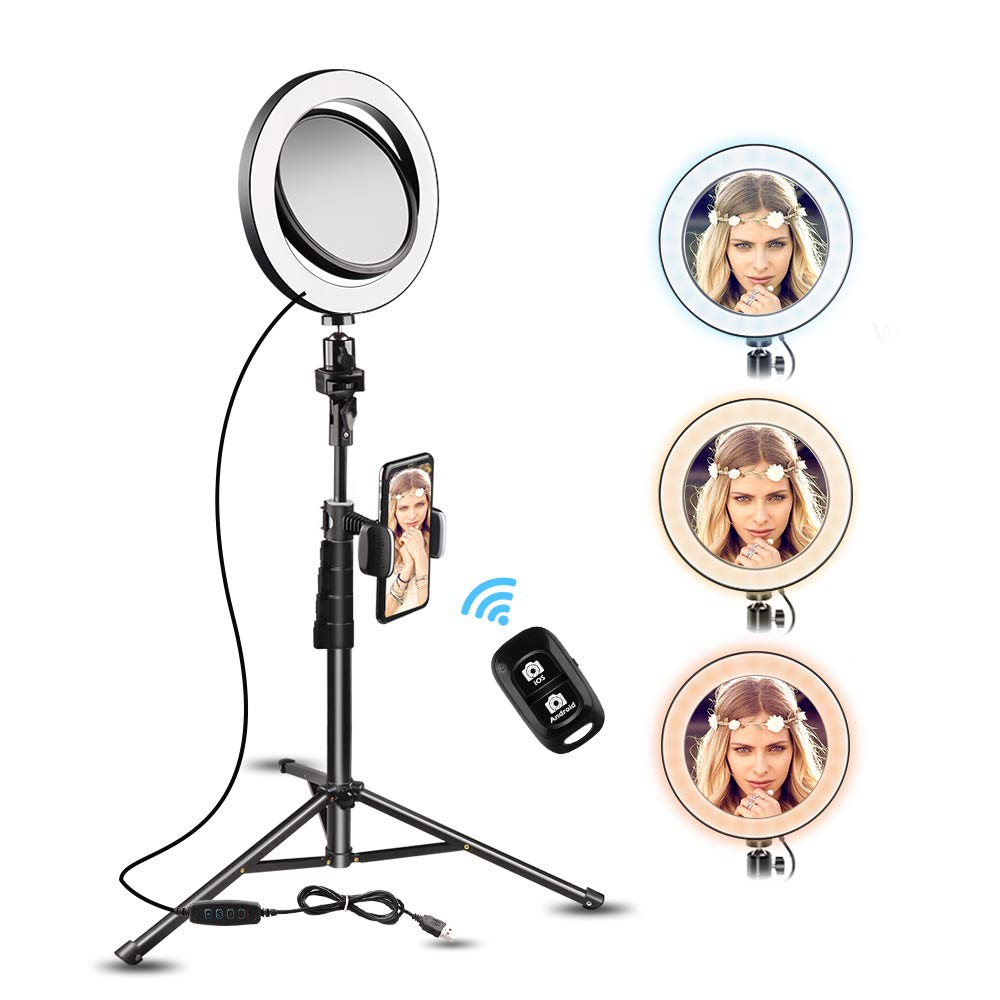 8'' Selfie Ring Light with Makeup Mirror, UBeesize Mini Led RingLight with Tripod Stand & Cell Phone Holder & Smartphone Remote for Live Stream/YouTube Video/Photography, Compatible with iPhone Android