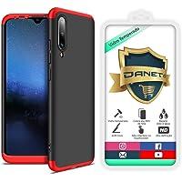 Kit Capa Capinha Anti Impacto 360 Full Para Xiaomi Mi A3 e Cc9e - Case Acrílica Fosca Com Película De Vidro Temperado - Danet (Preto com vermelho)