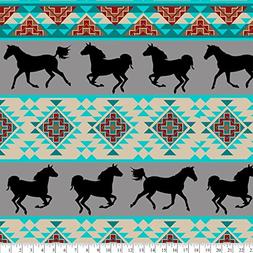Southwest Horses Anti-Pill Fleece Fabric By The ()