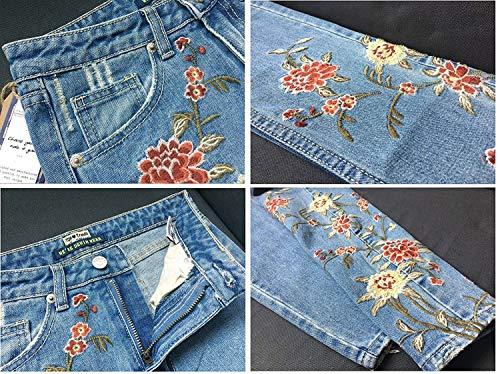 Botón De Bolsillos Florales Los Del Ropa Tobillo Acogedores Vaqueros Adelina Mujeres Chel Ajustados Pantalones Con Azul Ocasionales Las wqCO6x