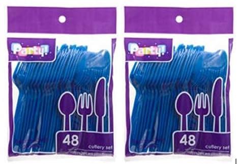 Azul resistente cubertería de acero inoxidable en estuche de plástico – 32 cucharas, 32 cuchillos