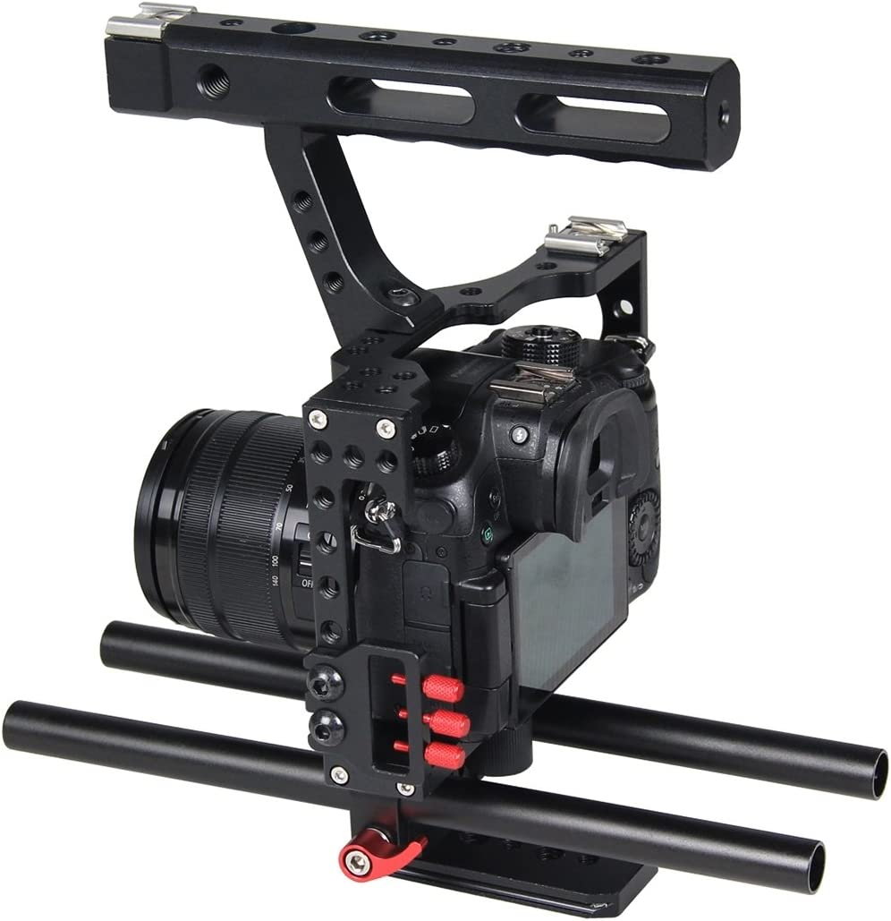 Panasonic Lumix DMC-GH4 Durable A7R II /& A7S II Camera Cage Handle Stabilizer for Sony A7 /& A7S /& A7R Color : Orange A7RIII /& A7 III