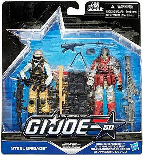 (G.I. Joe, 50th Anniversary, Troop Build Up Action Figure Set [Steel Brigade vs. Iron Grenadier], 3.75 Inches )